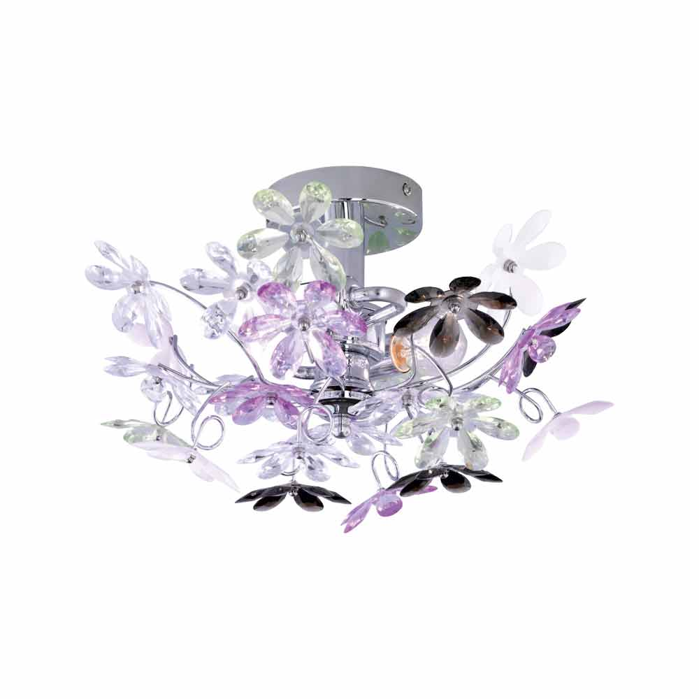 Flower Small Chrome & Acrylic Ceiling Light