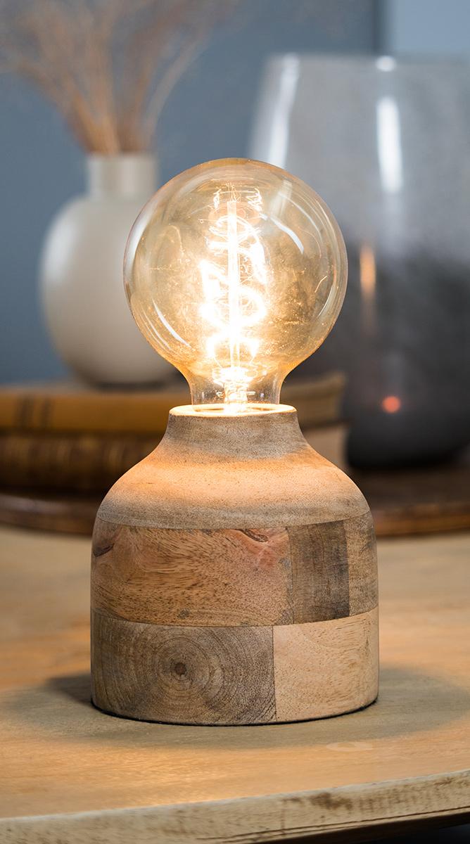LED lamp in wooden base
