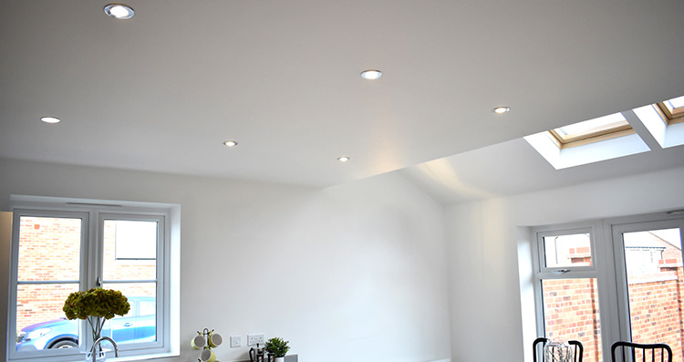 Downlights in a kitchen
