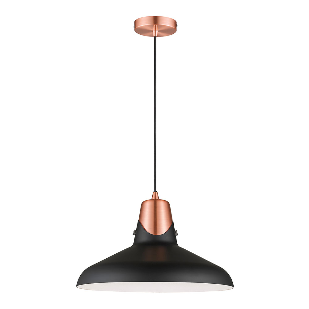 Hanwell Matt Black & Copper Pendant